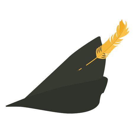 feather vector: Green robin hood hat with feather vector illustration