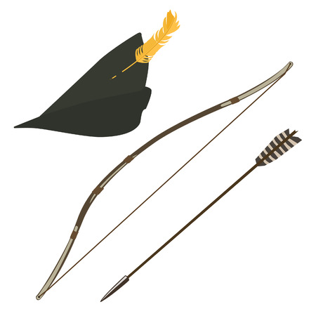 bowman: Green robin hood hat with feather, bow and arrow vector illustration, Illustration
