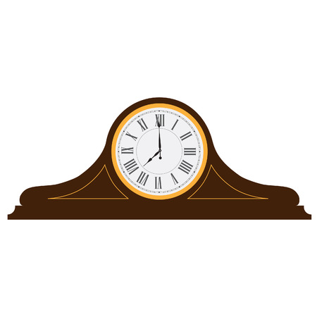 roman numerals: Brown wooden old clock with roman numerals vector illustration. Vintage desk clock. Table clock