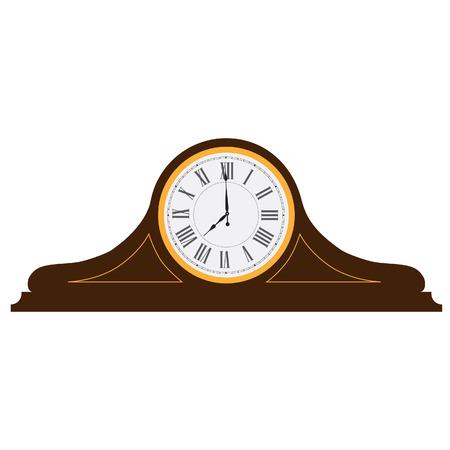 numeros romanos: Marrón viejo reloj de madera con números romanos ilustración vectorial. Reloj de escritorio de la vendimia. Reloj de mesa Vectores
