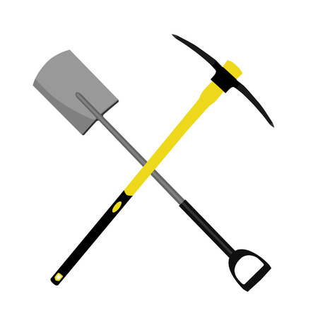 pick axe: Crossed pickaxe and shovel symbol vector illustration. Digger equipment Illustration