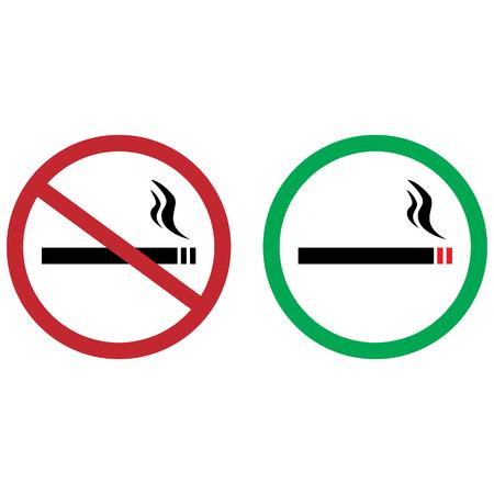 pernicious habit: Green sign allowed smoking and red sign no smoking vector icon illustration set. Smoke free