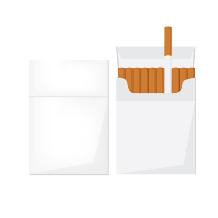 cigarette pack: Opened and closed cigarette pack with cigarettes vector illustration. Cigarette box. Cigarette packet.