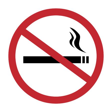 smoldering cigarette: Round no smoking sign, quit smoking, smoke free, no smoking icon vector illustration Illustration
