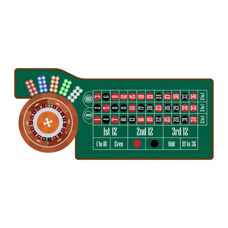 american table: American roulette table with roulette wheel and ball, different colors chips vector illustration. Gambling game Stock Photo