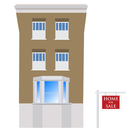 house for sale: Victorian house with sign home for sale vector illustration. House exterior front. Hotel building