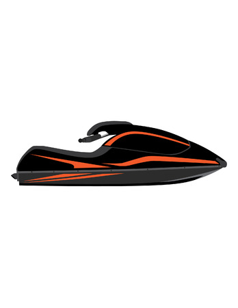 outboard: Black and orange water scooter vector icon isolated, extreme sport, water sport, water transport Illustration