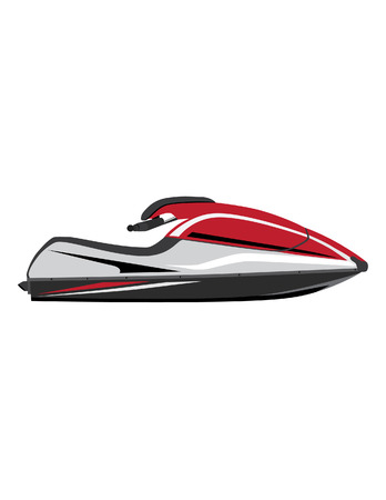 outboard: White and red water scooter vector icon isolated, extreme sport, water sport,water transport Illustration