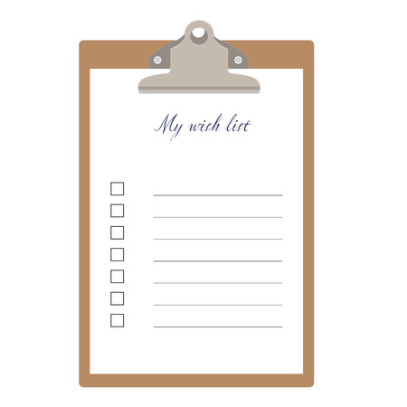 wish list: Brown clipboard and my wish list with empty check boxes vector illustration. Survey icon, checklist icon Illustration