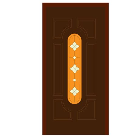 Wooden Door With Stained Glass Window Vector Illustration Closed