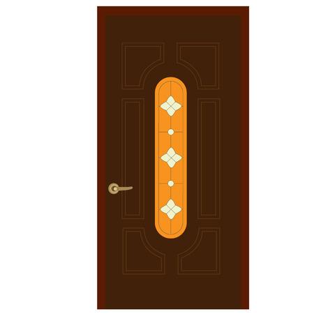 front door: Wooden door with stained glass window and golden handle vector illustration. Closed door. House door. Front door