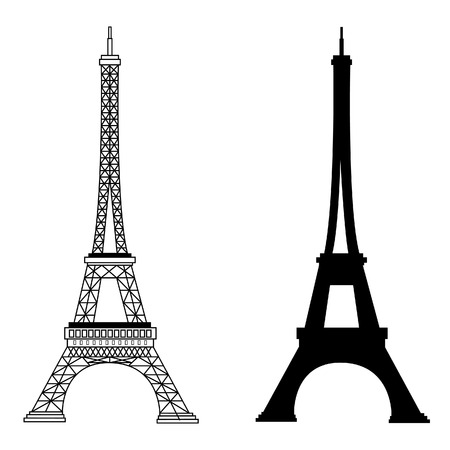 tours: France famous construction eiffel tower vector illustration. Black silhouette and outline drawing