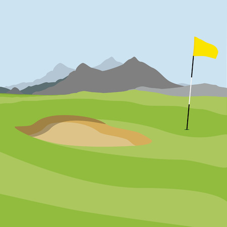 Vector illustration of golf field and golf flag with mountain landscape. Golf course. Иллюстрация