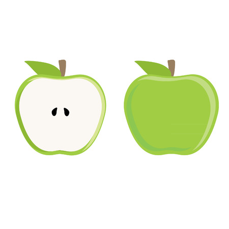 half of apple: Green apple whole and half apple vector set, fresh fruit, healthy food