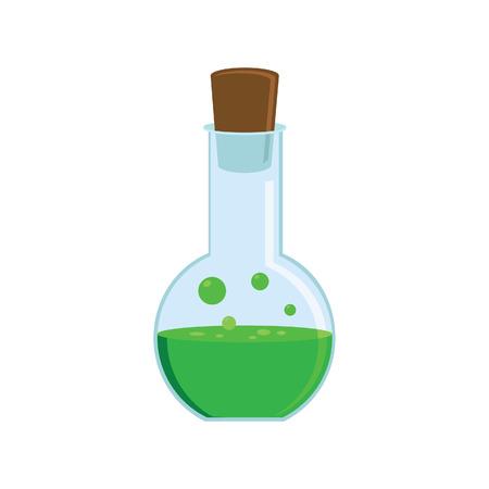 boticário: Vector illustration of magic bottle with green love potion. Manna bottle. Potion bottle