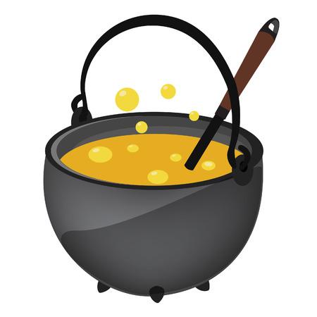 magic cauldron: Magic kettle with yellow poison and spoon vector illustration. Cauldron. Pot vector