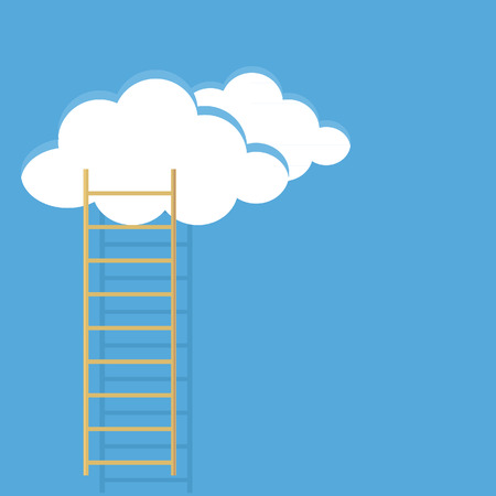 blauer himmel mit wolken: Blue sky, clouds and ladder vector illustration. Reaching for the stars. Ladder of success.