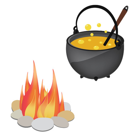Magic kettle with yellow poison, spoon and campfire vector illustration. Cauldron. Pot vector