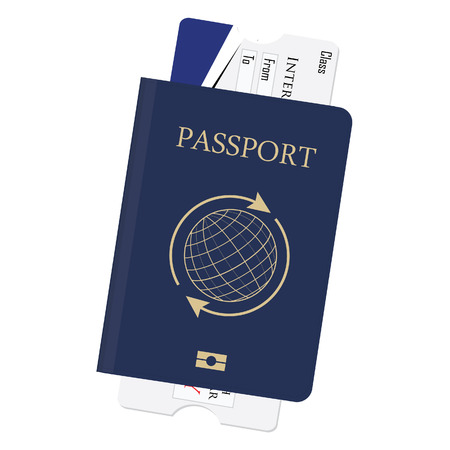 info board: Blue passport and boarding pass vector illustration. Airplane ticket. Identification document