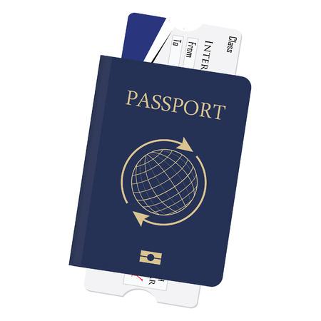 pizarra: Pasaporte azul y tarjeta de embarque ilustraci�n vectorial. Billete de avi�n. Documento de identidad