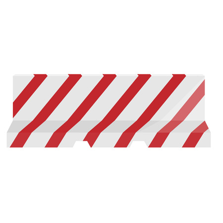 roadblock: Road barrier striped red and white vector illustration. Traffic barrier. Road block.