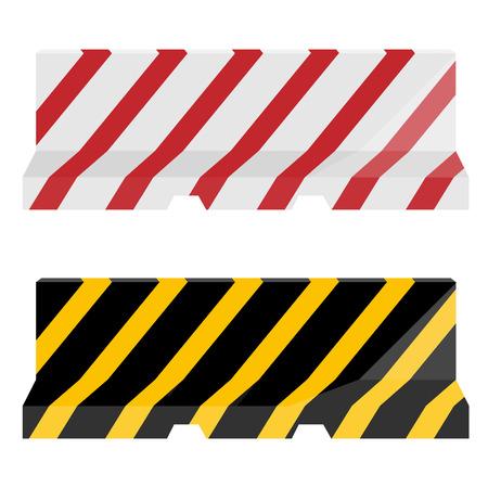 blocco stradale: Set di due strisce di barriera stradale rosso, bianco e giallo, nero Vector. Barriera di traffico. Blocco stradale