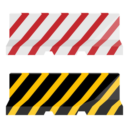 roadblock: Vector set of two striped road barrier red, white and yellow, black. Traffic barrier. Road block Illustration