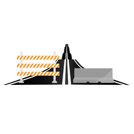 bent highway: Asphalted country road and different road barrier vector illustration. Traffic barrier. Road block. Triple barrier Illustration