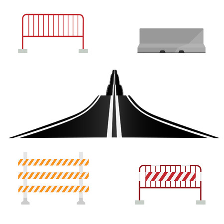 bent highway: Asphalted country road and different road barrier vector illustration