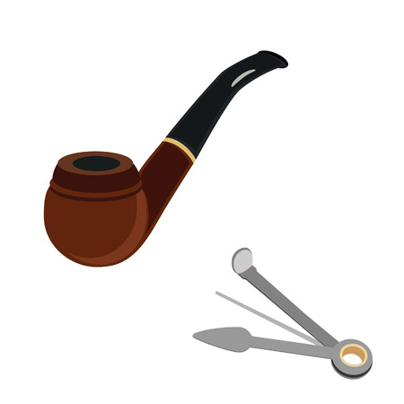 reamer: Brown wooden smoking pipe and stainless multifunctional cleaning tool vector icon set Illustration