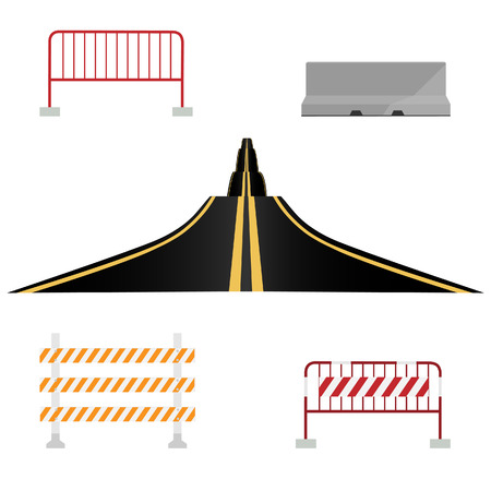 roadblock: Asphalted country road and different road barrier vector illustration