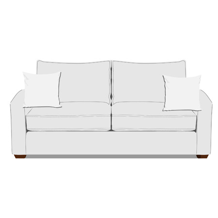 Vector illustration of white sofa with two pillows. Classic sofa. Living room interior Illustration