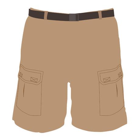 short pants: Man brown bermuda shorts vector illustration. Sport shorts. Short pants