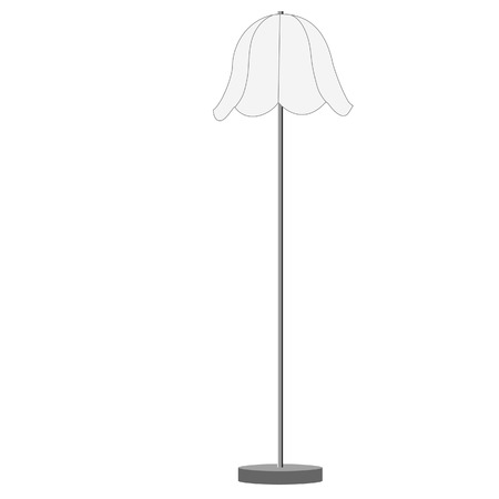 floor lamp: White standing lamp vector illustration. Floor lamp. Modern lamp