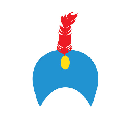 hat with feather: Blue turban hat with jewel and red feather vector illustration. Indian turban. Sultan hat.