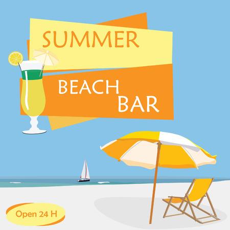 sand beach: Flyer summer beach party with  blue sky, sea, sand, beach umbrella, beach chair, cocktail and sail boat. Beach bar poster template