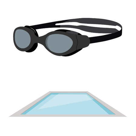 swimming to float: Vector illustration of swimming pool and swimming goggles.  Swimming icon set