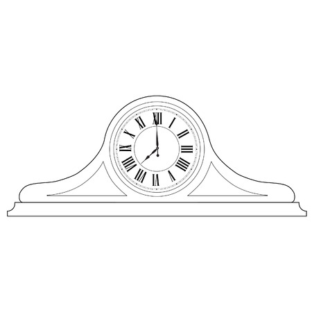 roman numerals: Outline drawing of old table clock with roman numerals vector illustration. Vintage desk clock. Table clock
