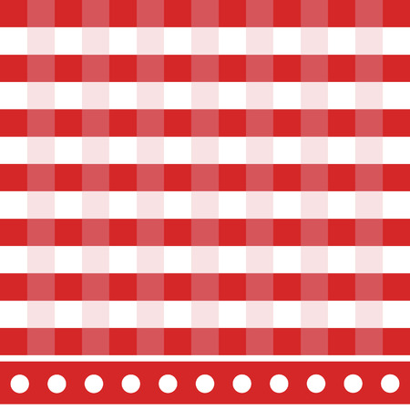picnic cloth: Red and white checkered tablecloth vector illustration. Picnic table cloth