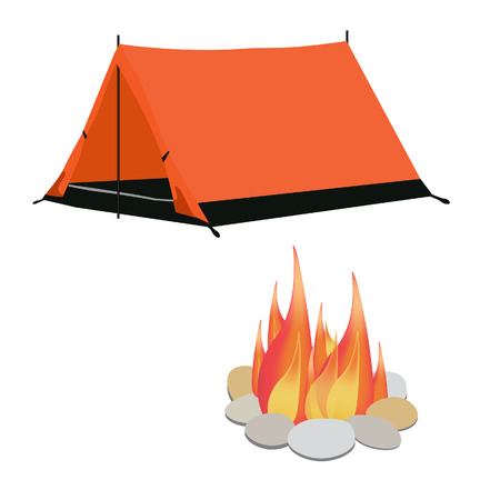 camping equipment: Camping equipment orange camping tent, campfire with stones vector illustration. Camping gear icon set