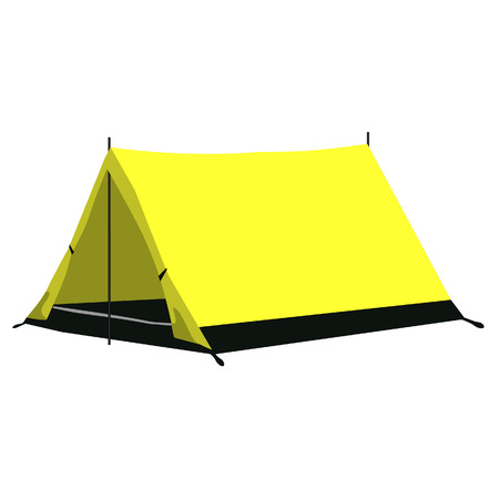 camping equipment: Yellow camping tent vector illustration. Camping equipment, camping gear, camping icon Illustration