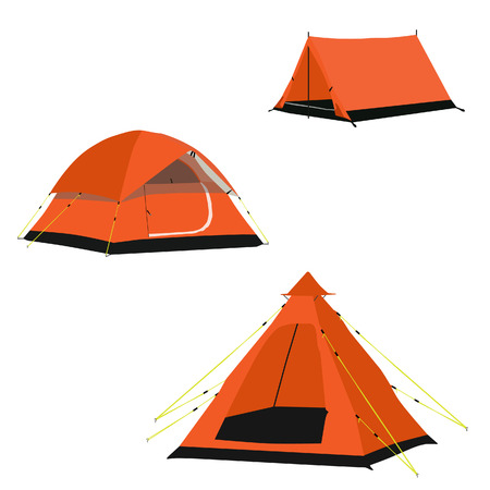 camping equipment: Vector set of three orange camping tents vector illustration. Camping equipment, camping gear, camping icon