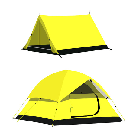 camping equipment: Two yellow camping tent vector set illustration. Camping equipment, camping gear, camping icon