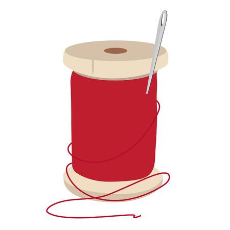 hilo rojo: Carrete de hilo rojo y aguja de coser para la ilustraci�n vectorial. Aguja e hilo.