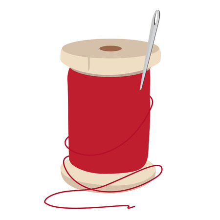 spool: Spool of red thread and needle for sewing vector illustration. Needle and thread. Illustration