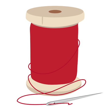 Spool of red thread and needle for sewing vector illustration. Needle and thread. Vectores