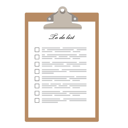Brown clipboard and to do list with empty check boxes vector illustration. Survey icon, checklist icon