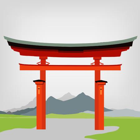 torii: Torii puerta se�al nacional de ilustraci�n vectorial. Japonesa Fuji puerta monta�a. cultura japonesa