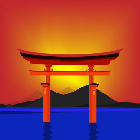 fuji mountain: Torii gate national landmark vector illustration. Sunset japanese gate fuji mountain and lake. Japanese culture