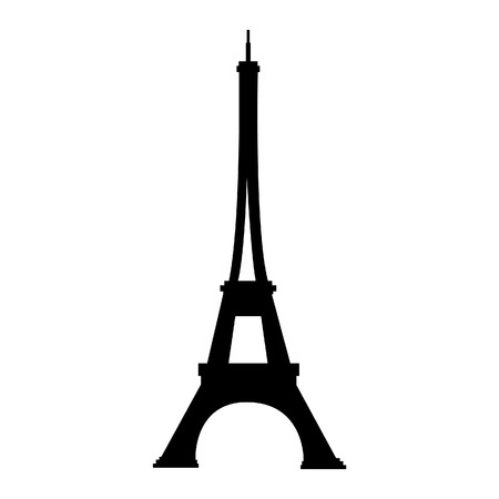 France famous construction eiffel tower black silhouette vector illustration